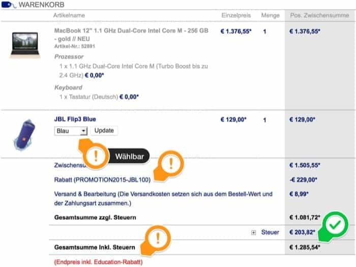 Das neue MacBook 12 Zoll in der Bestellübersicht mit Gutschein