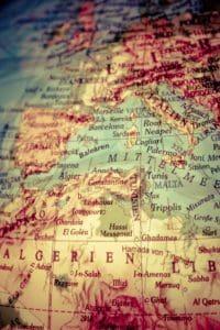 Staaten auf einer Landkarte