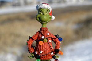Grinch mit Weihnachtsmütze